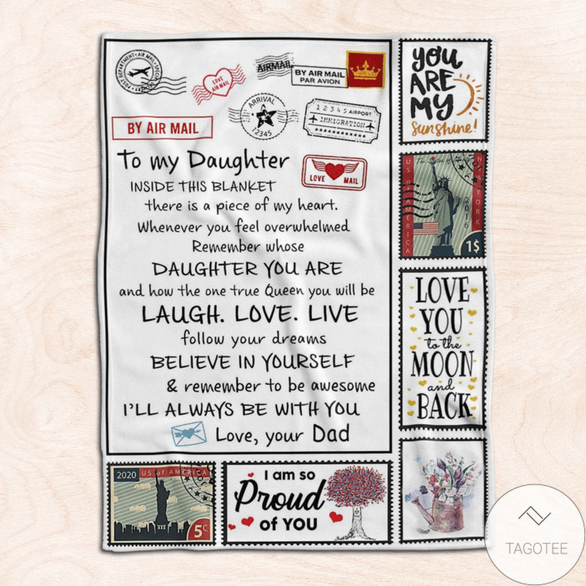 Limited Edition Air Mail To My Daughter I'll Always Be With You Blanket