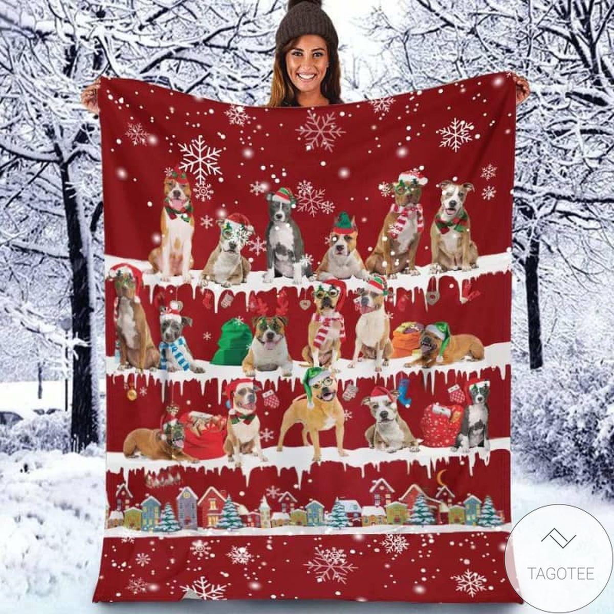 American Staffordshire Terrier - Christmas Blanket