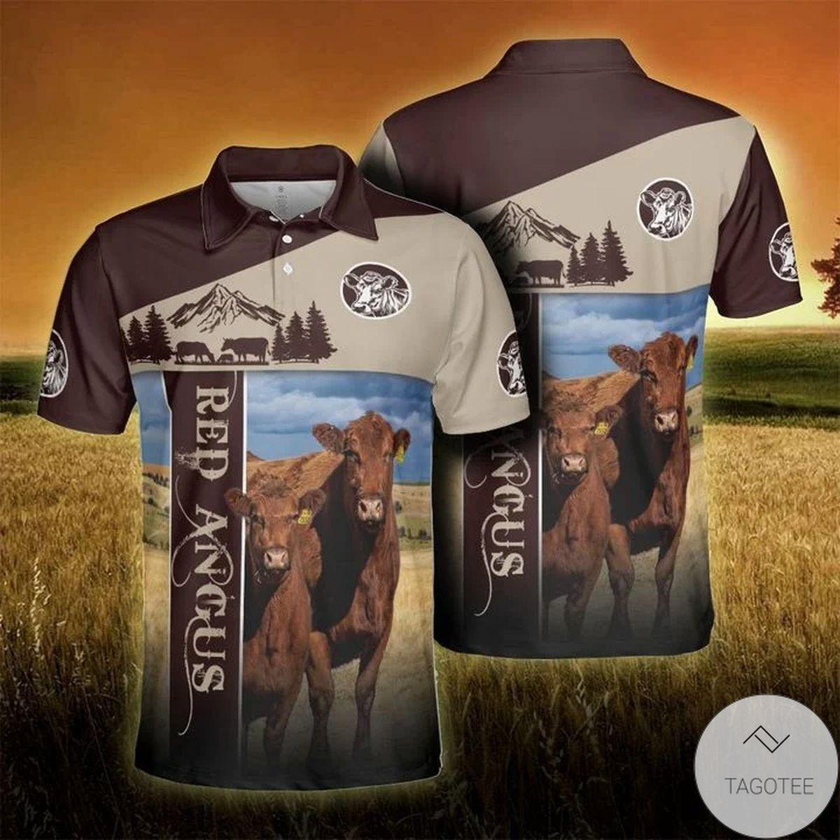 Angus Cattle Lovers Proud Farmer Brown Polo Shirt