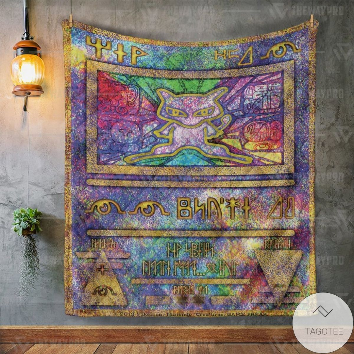 Awesome Anime Pokemon Ancient Mew Holo Custom Quilt