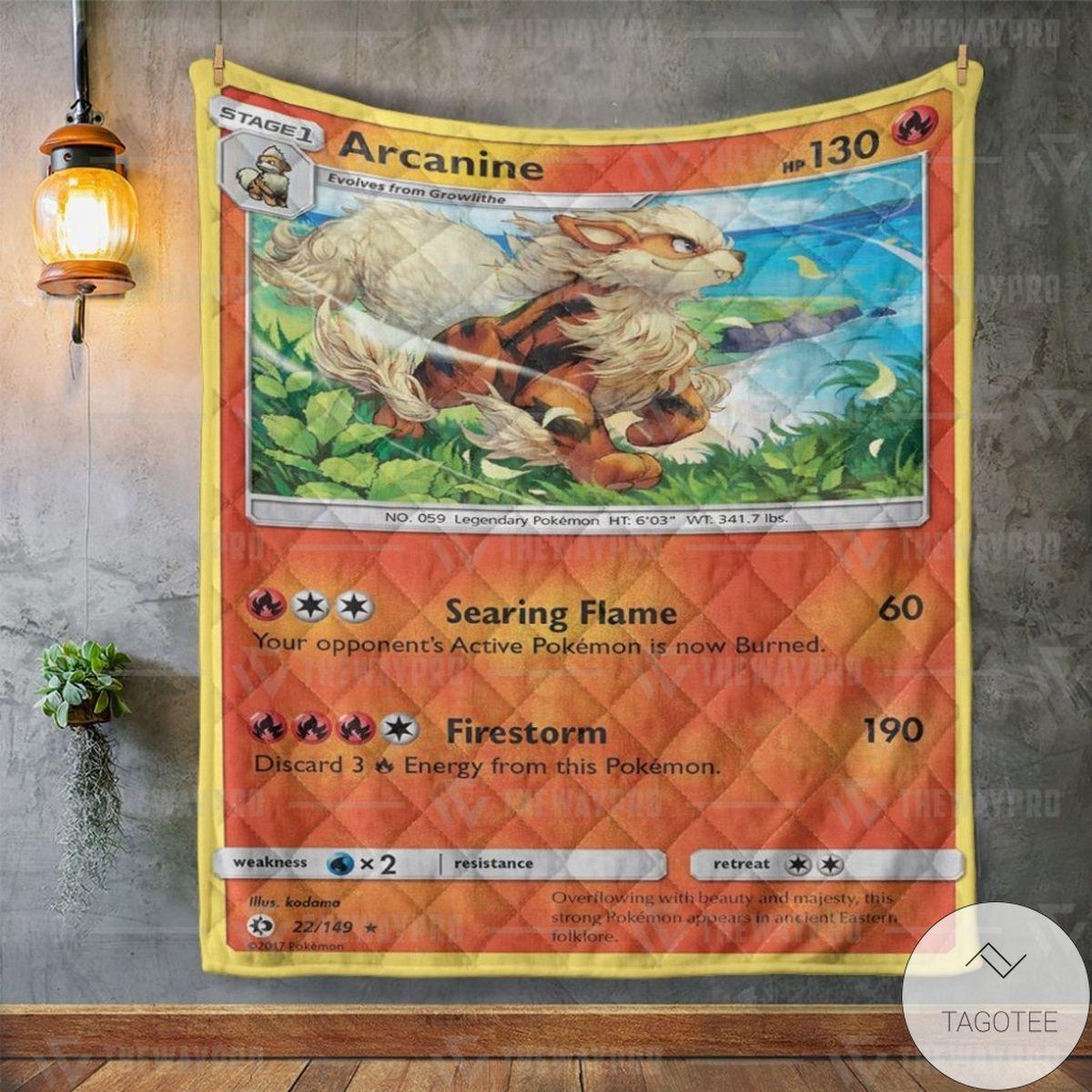 Father's Day Gift Anime Pokemon Arcanine Custom Quilt