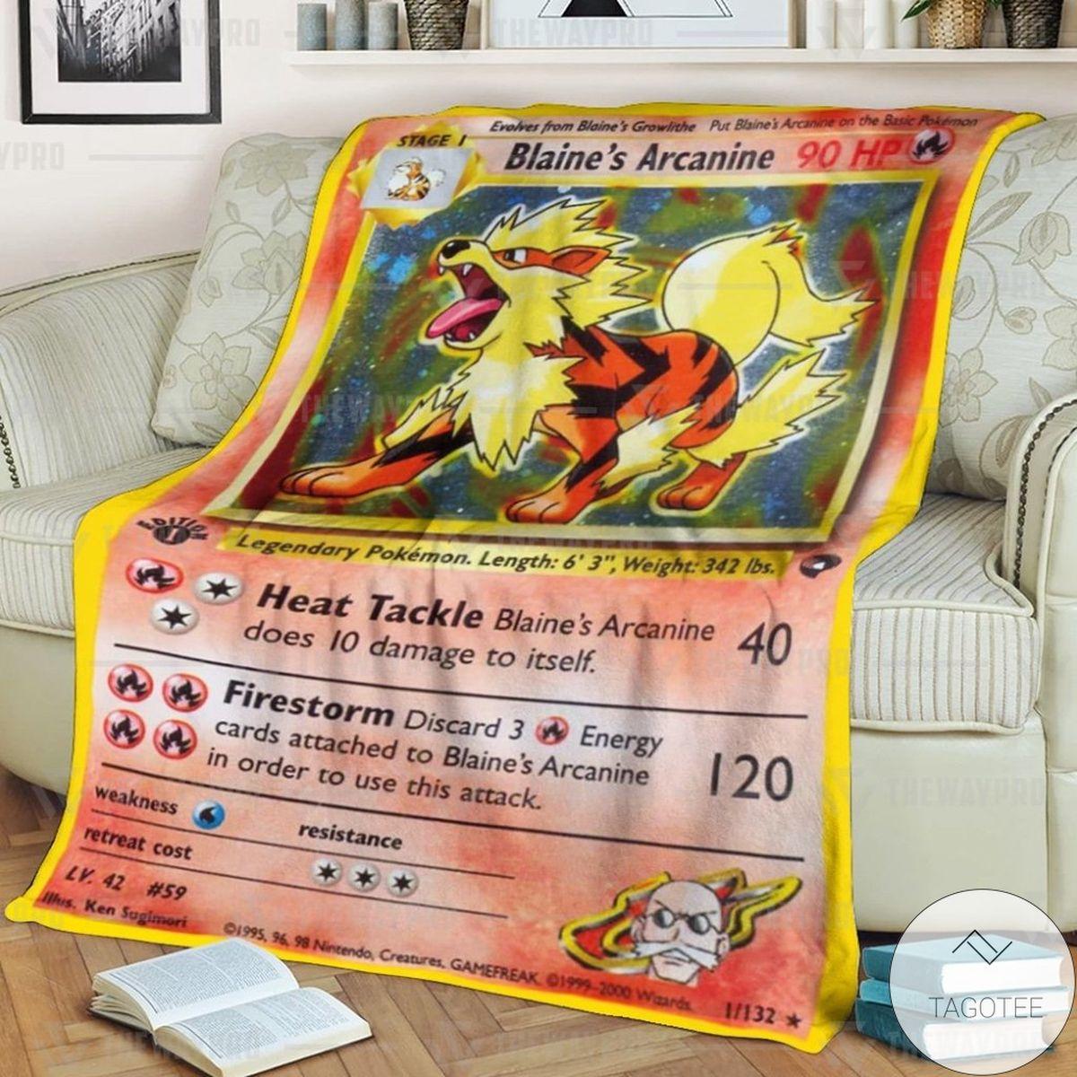 Anime Pokemon Blaine's Arcanine Custom Blanket