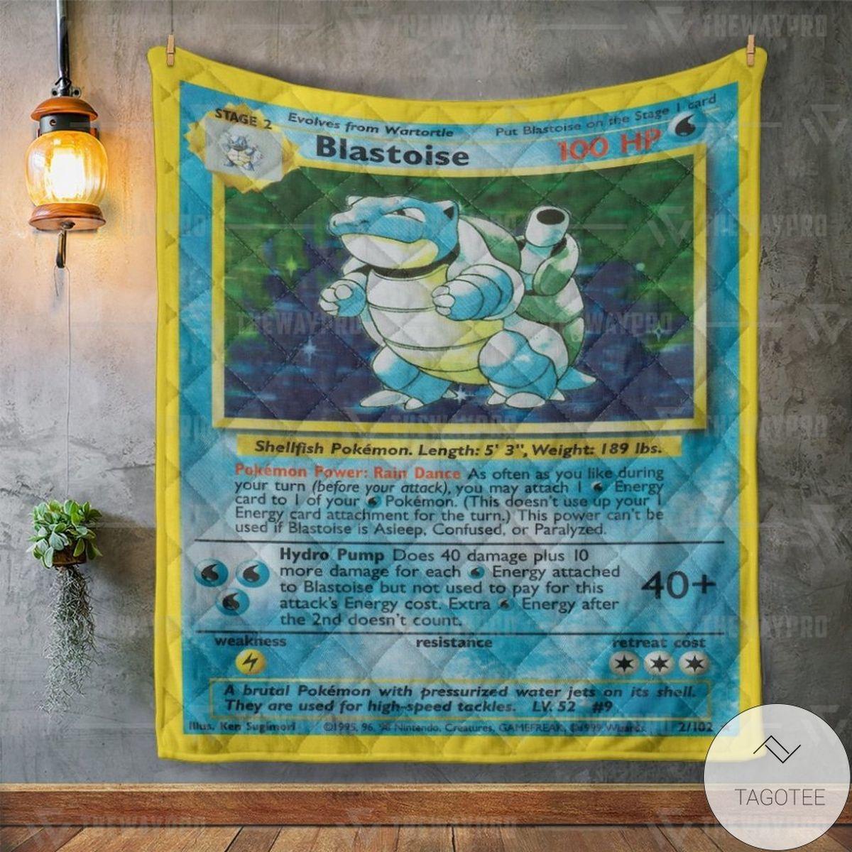 Vibrant Anime Pokemon Blastoise Card Custom Quilt