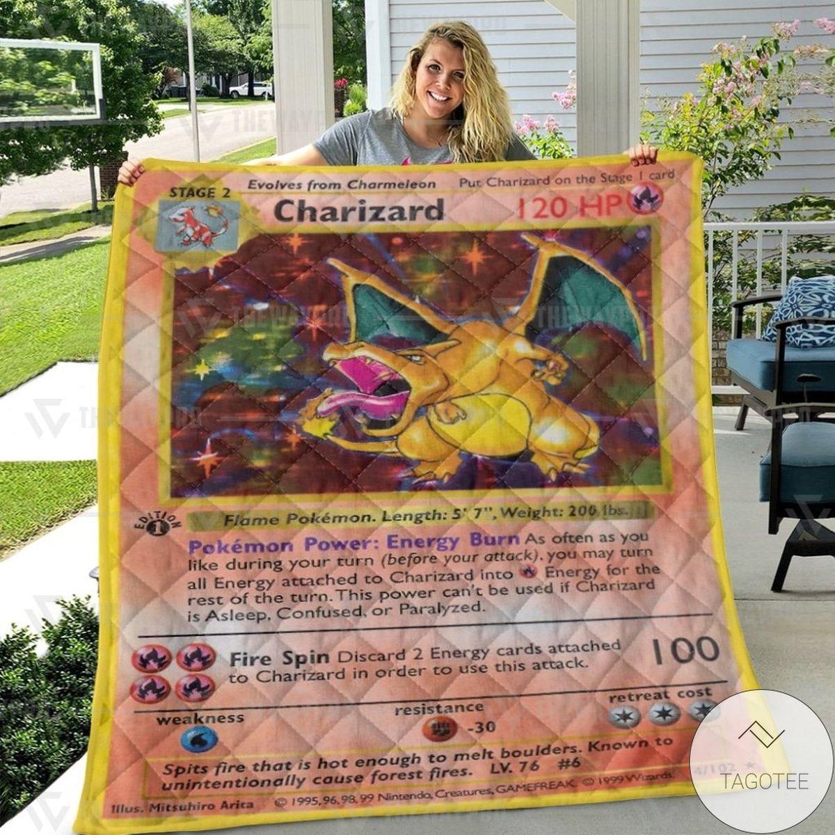 POD Anime Pokemon Charizard Card Custom Quilt