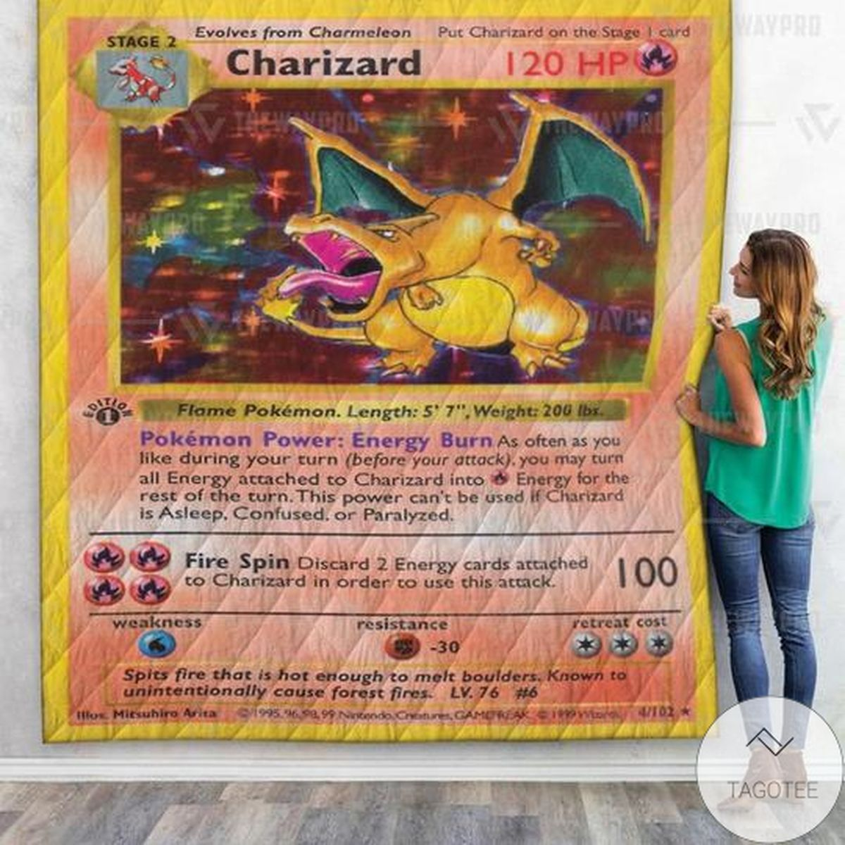 Anime Pokemon Charizard Card Custom Quilt