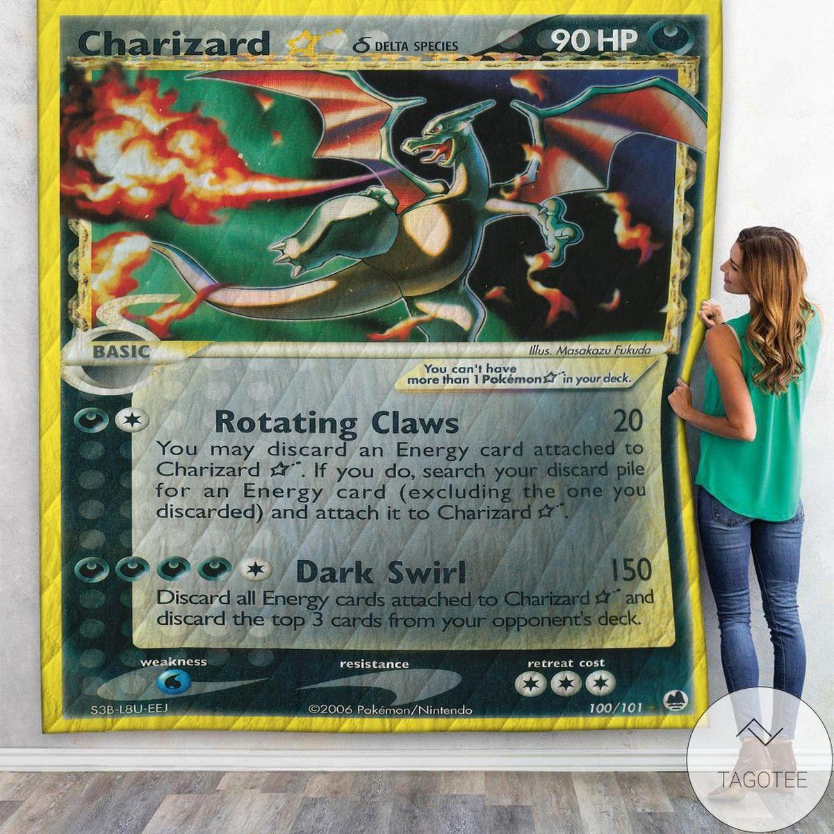 Anime Pokemon Charizard Star Gold Star Dragon Frontiers Custom Quilt