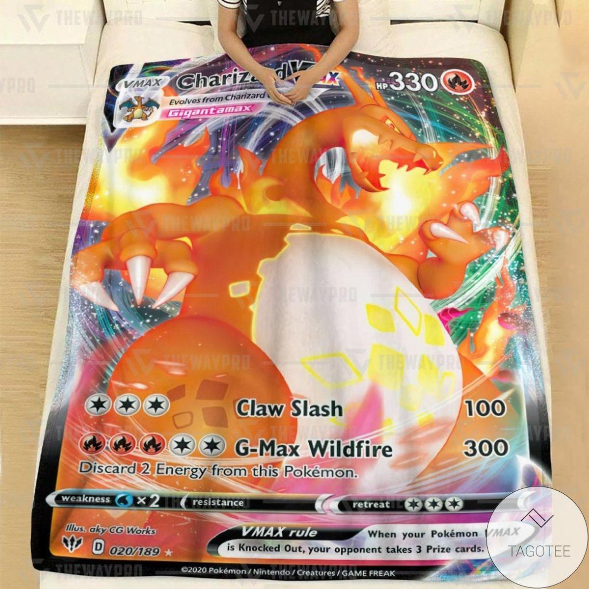 Anime Pokemon Charizard VMAX Darkness Ablaze Custom Blanket