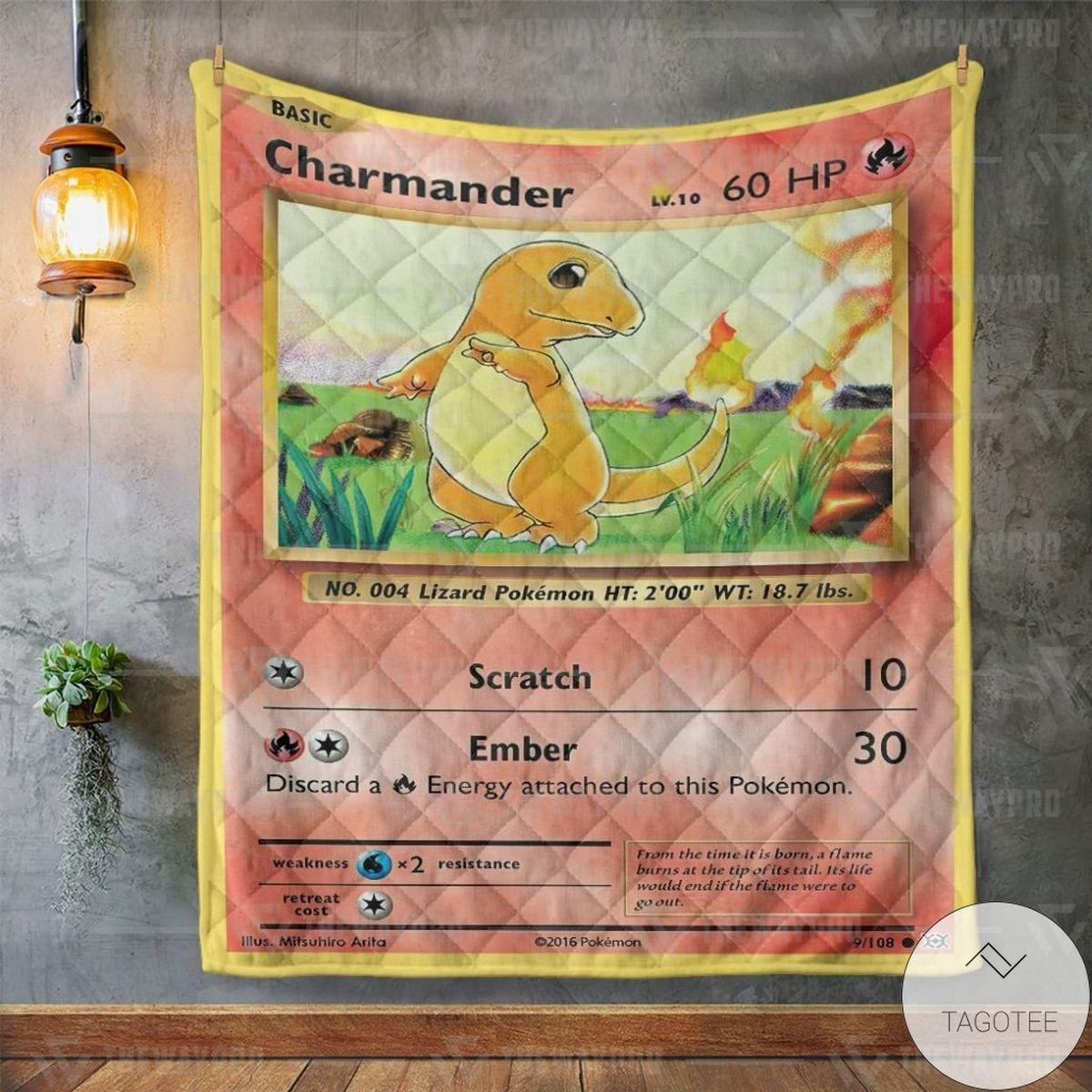 Fantastic Anime Pokemon Charmander Custom Quilt
