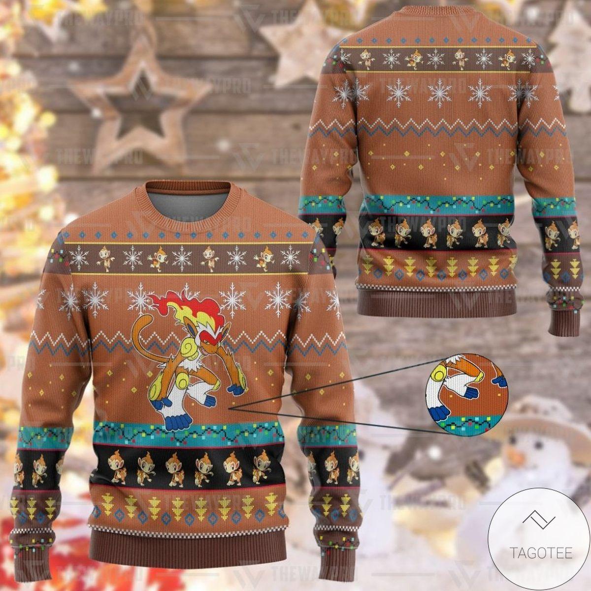 Anime Pokemon Infernape Custom Imitation Knitted Thicken Sweatshirt