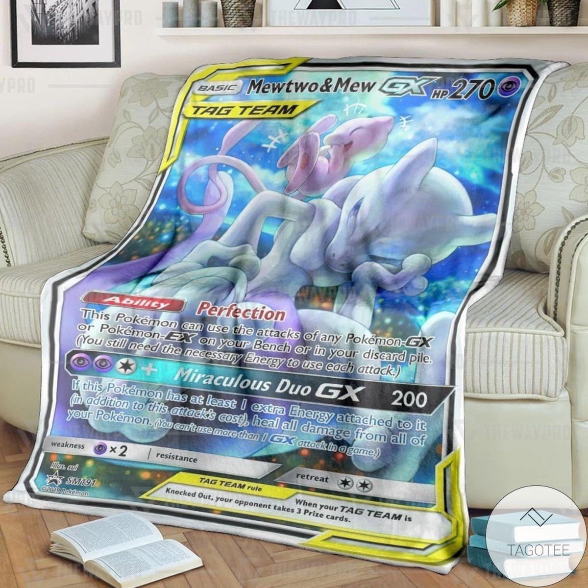 Anime Pokemon Mewtwo And Mew Custom Blanket