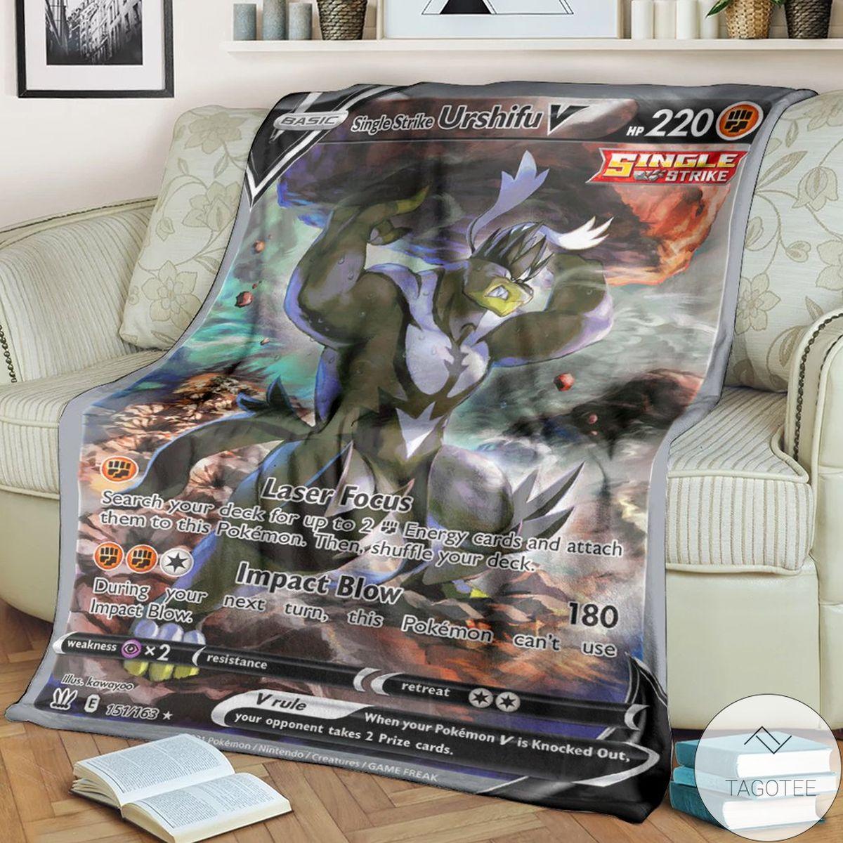 Anime Pokemon Single Strike Urshifu V Battle Styles Custom Blanket