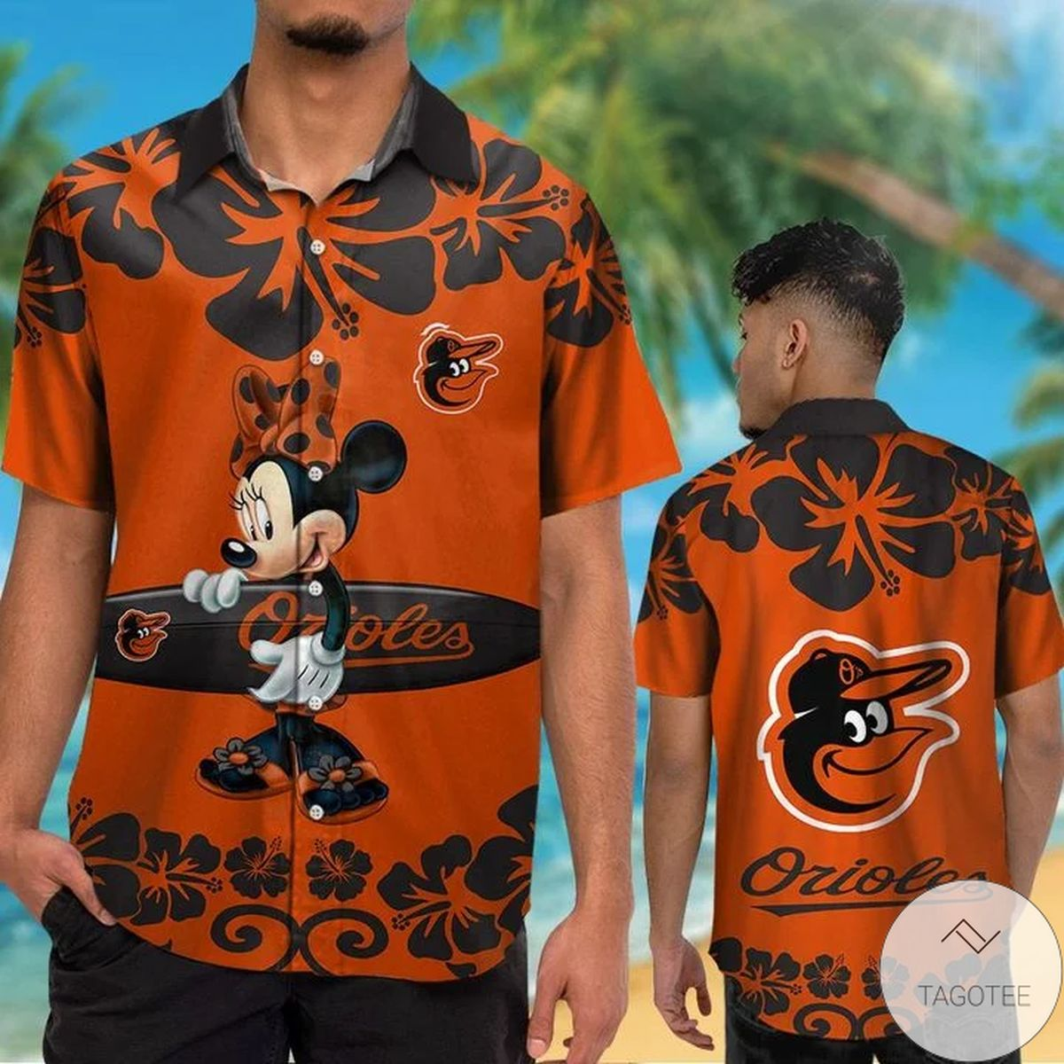 Baltimore Orioles Minnie Mouse Hawaiian Shirt