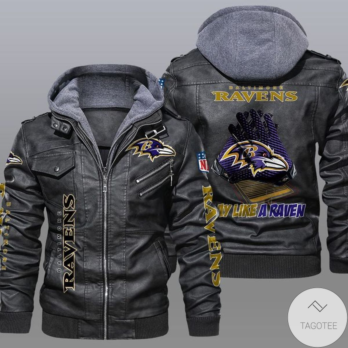 Baltimore Ravens 2D Leather Jacket