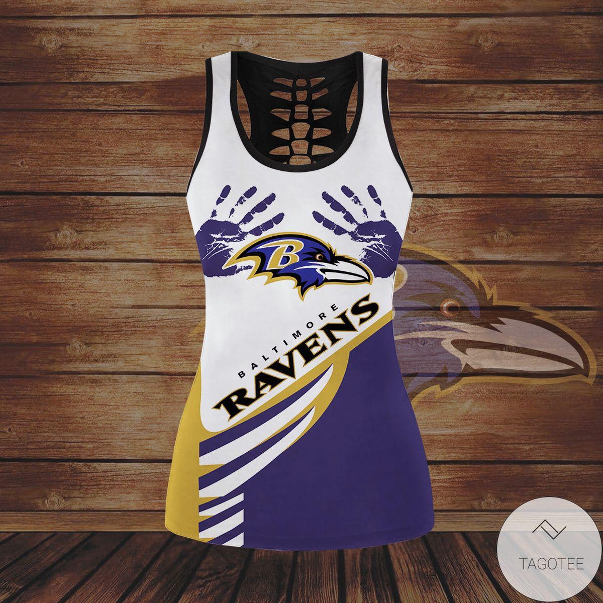 Nice Baltimore Ravens Hollow Tank Top And Leggings
