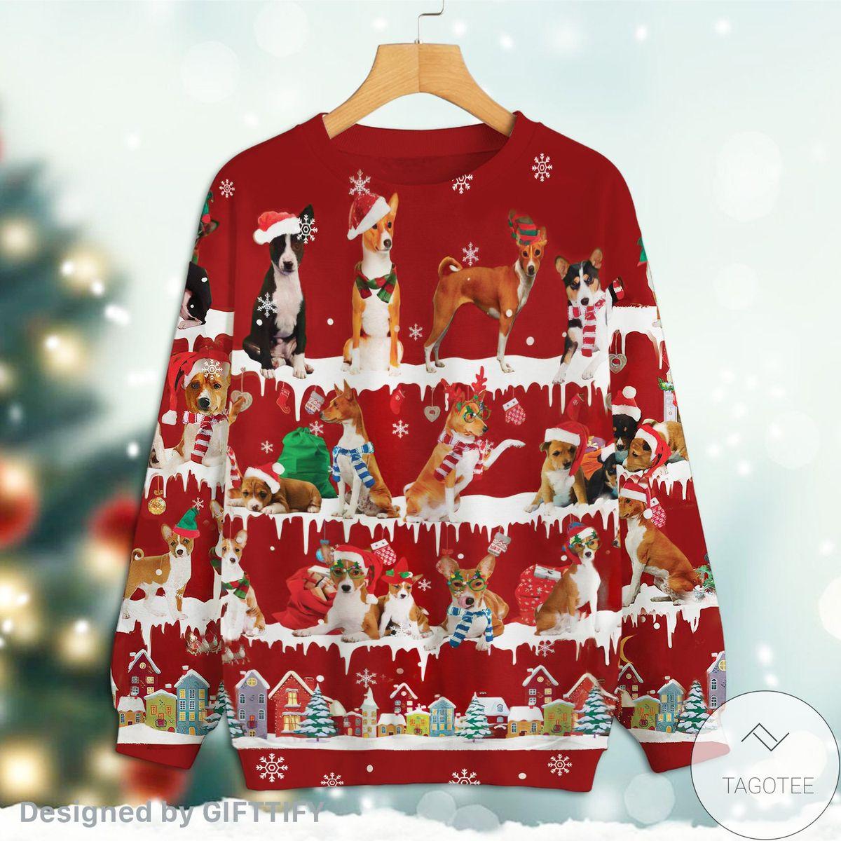 Basenji Snow Christmas Red Sweatshirt