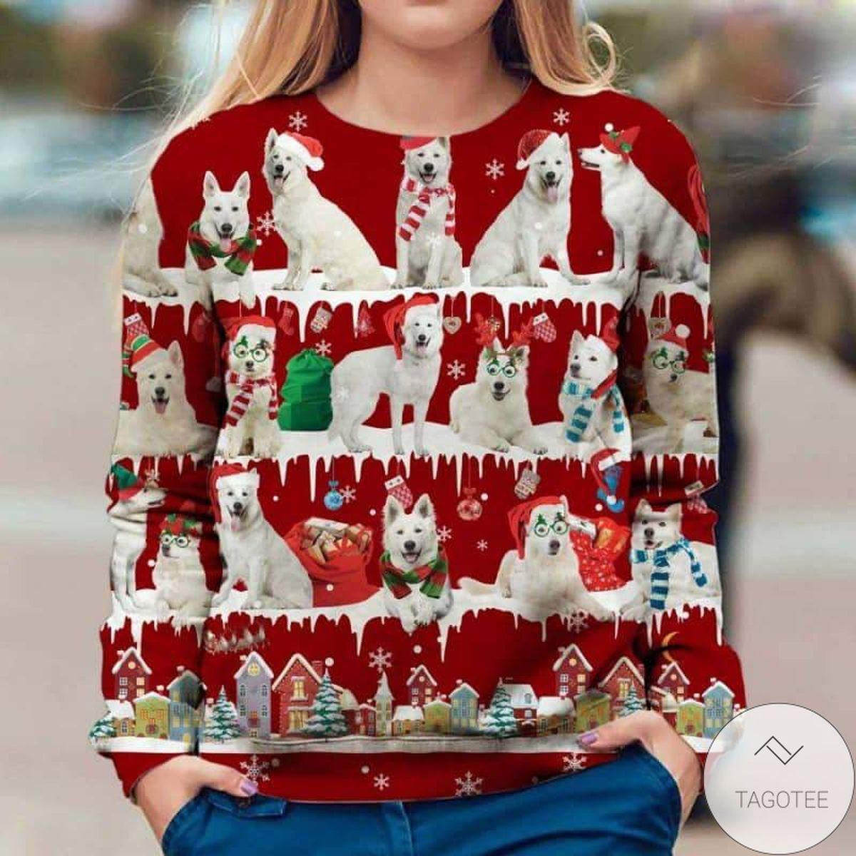 Berger Blanc Suisse Snow Christmas Red Sweatshirt