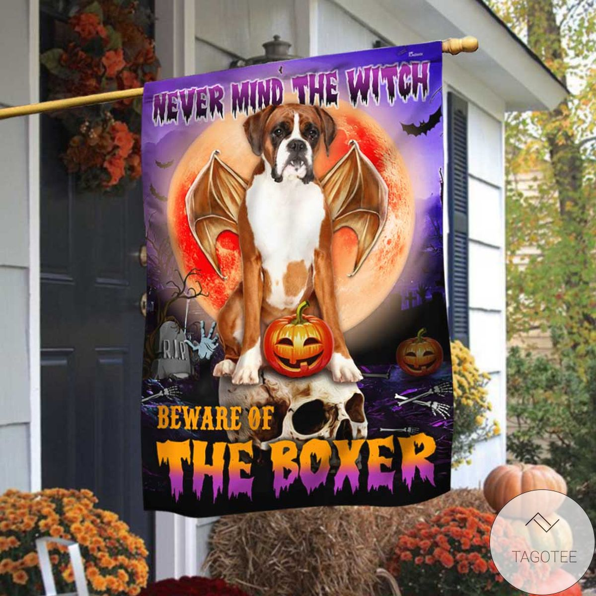 Great Beware Of The Boxer Halloween Flag