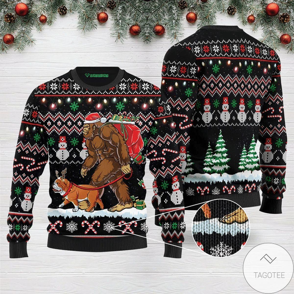 Bigfoot English Bulldog Ugly Christmas Sweater