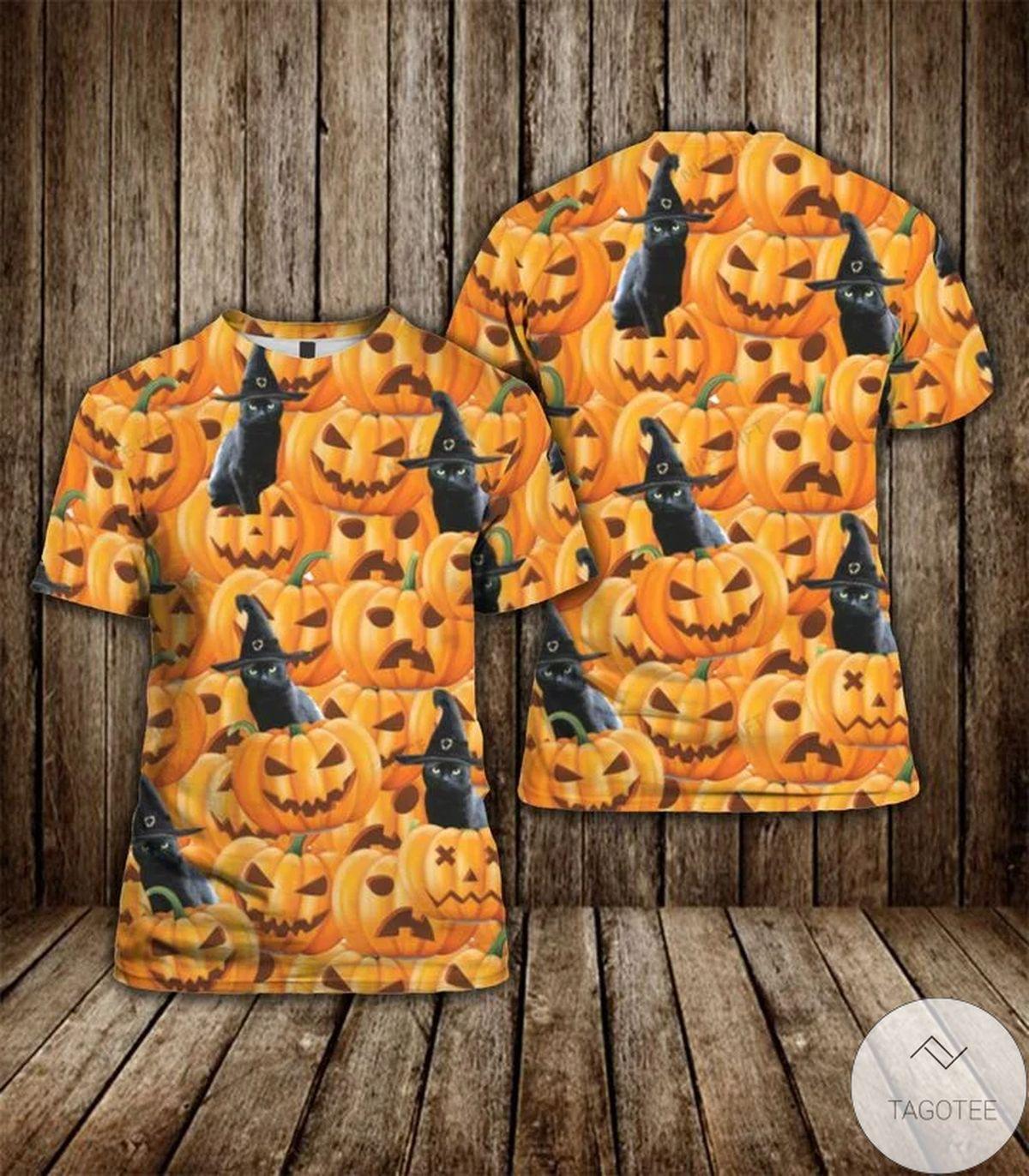 Black Cat Halloween Pumpkin 3D T-shirt