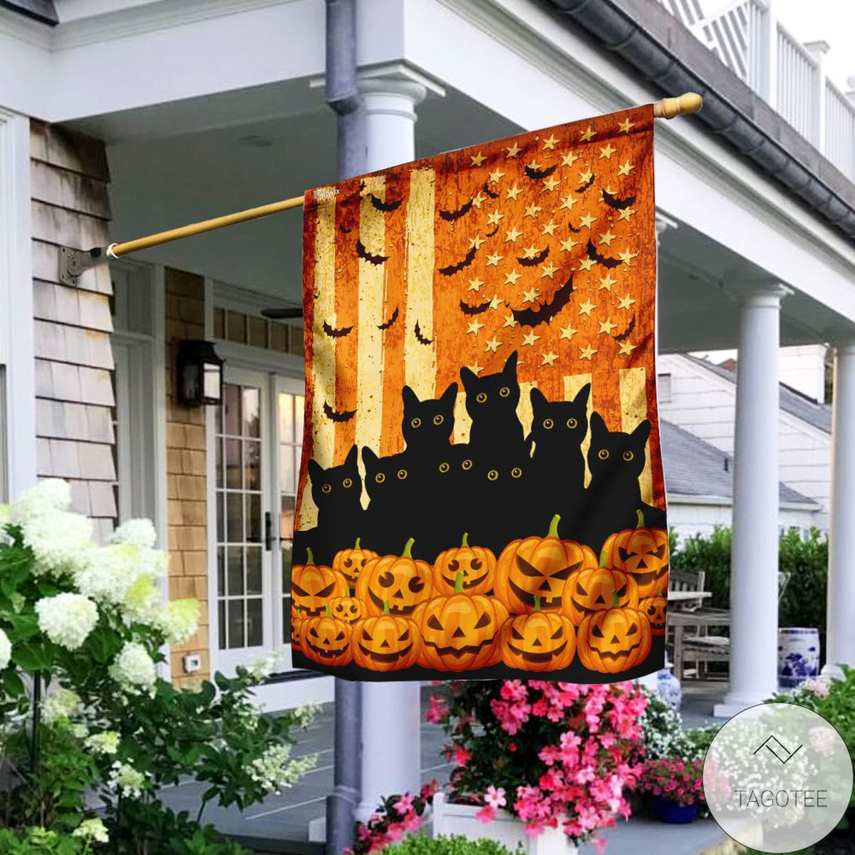 Black Cats Halloween American Flag