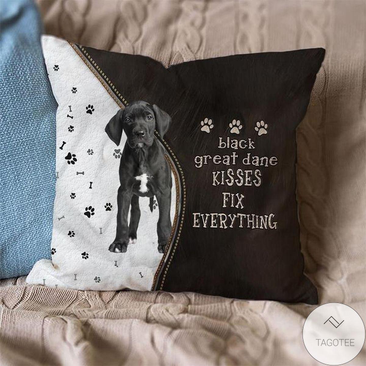 Black Great Dane Kisses Fix Everything Pillowcase