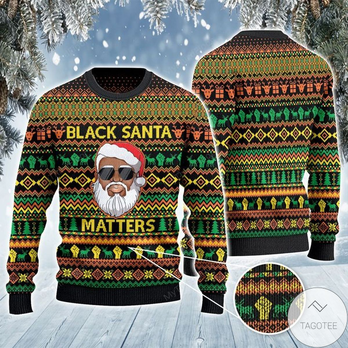 Black Santa Ugly Christmas Sweater