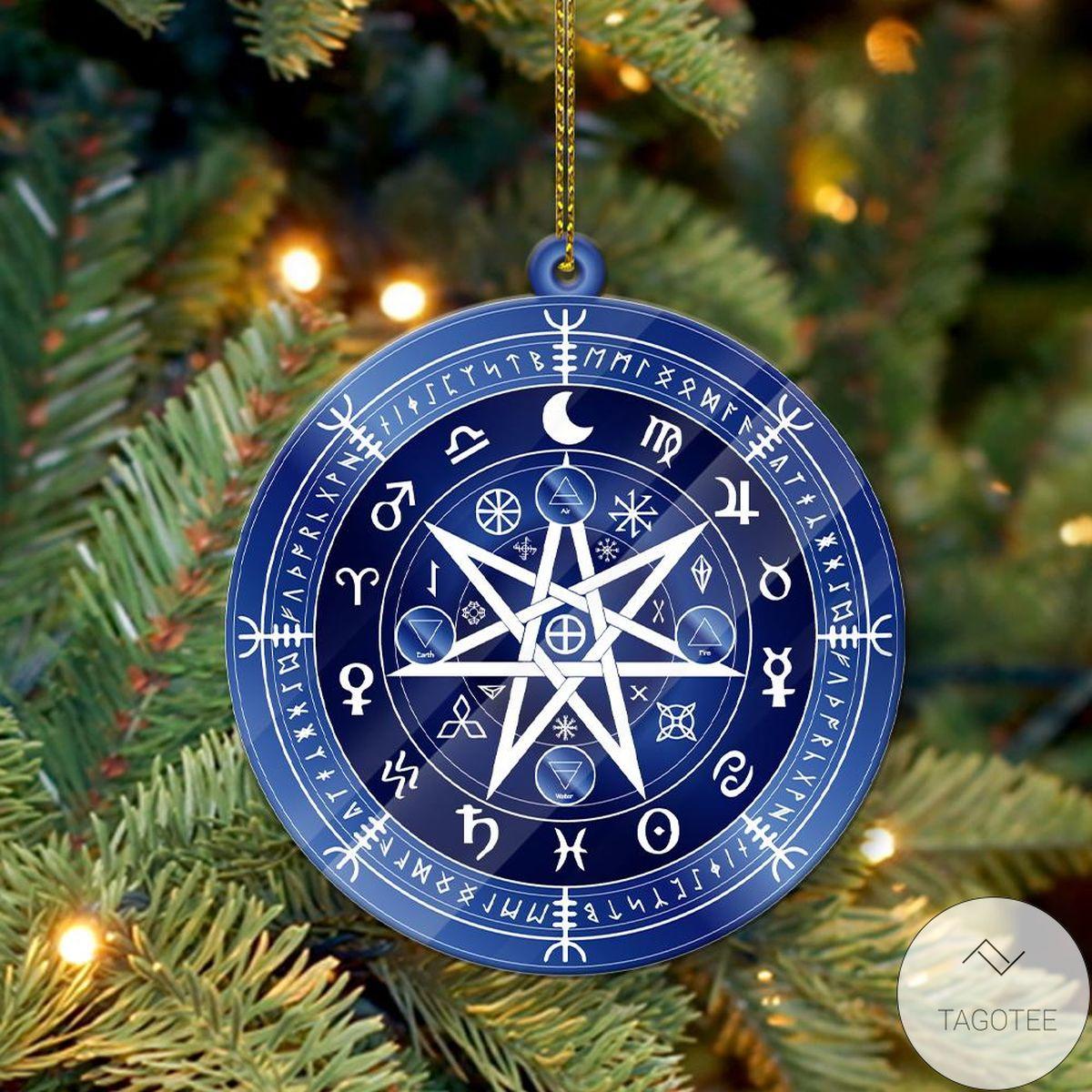 Blue Mandala Rune Acrylic Yule Ornament