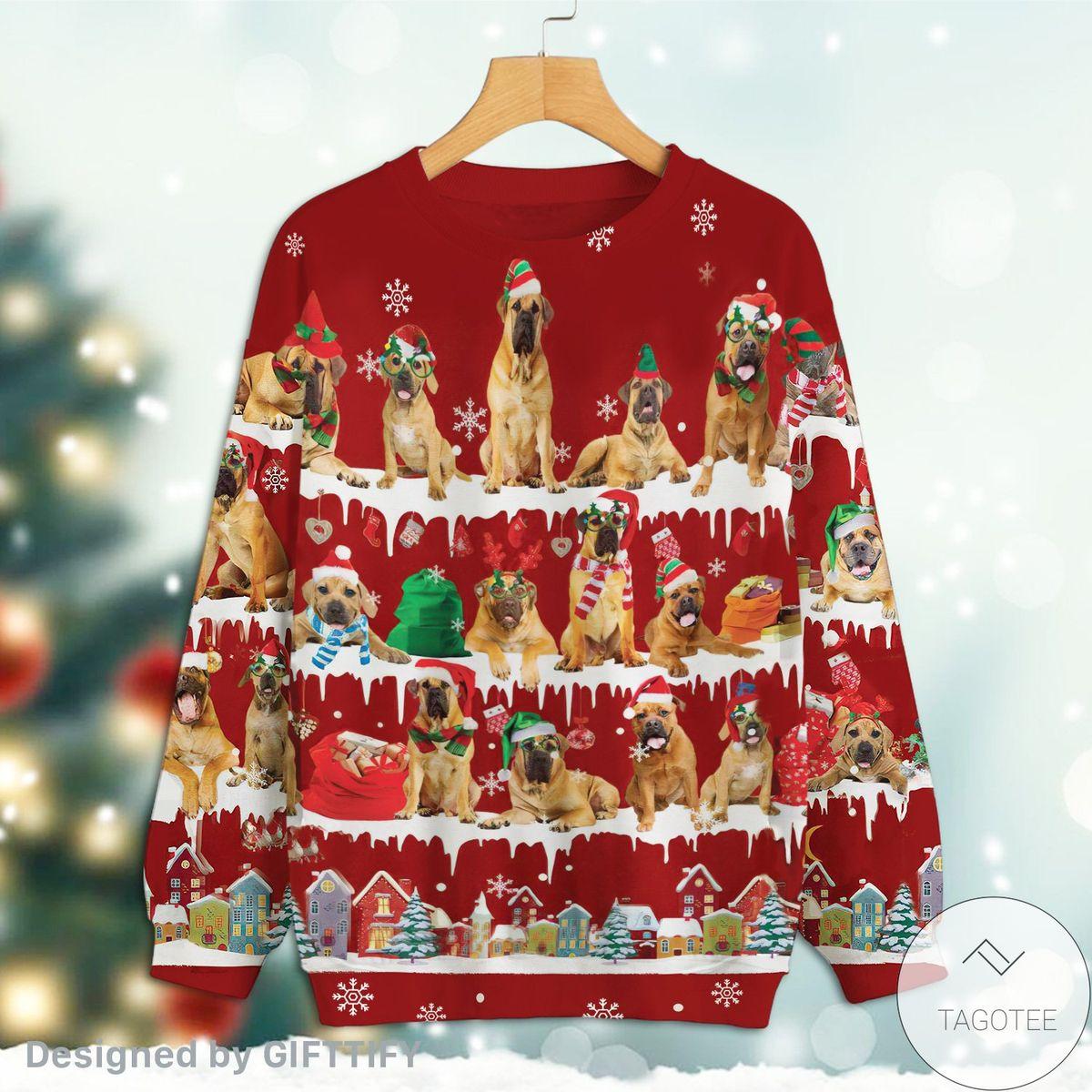 Boerboel Snow Christmas Red Sweatshirt