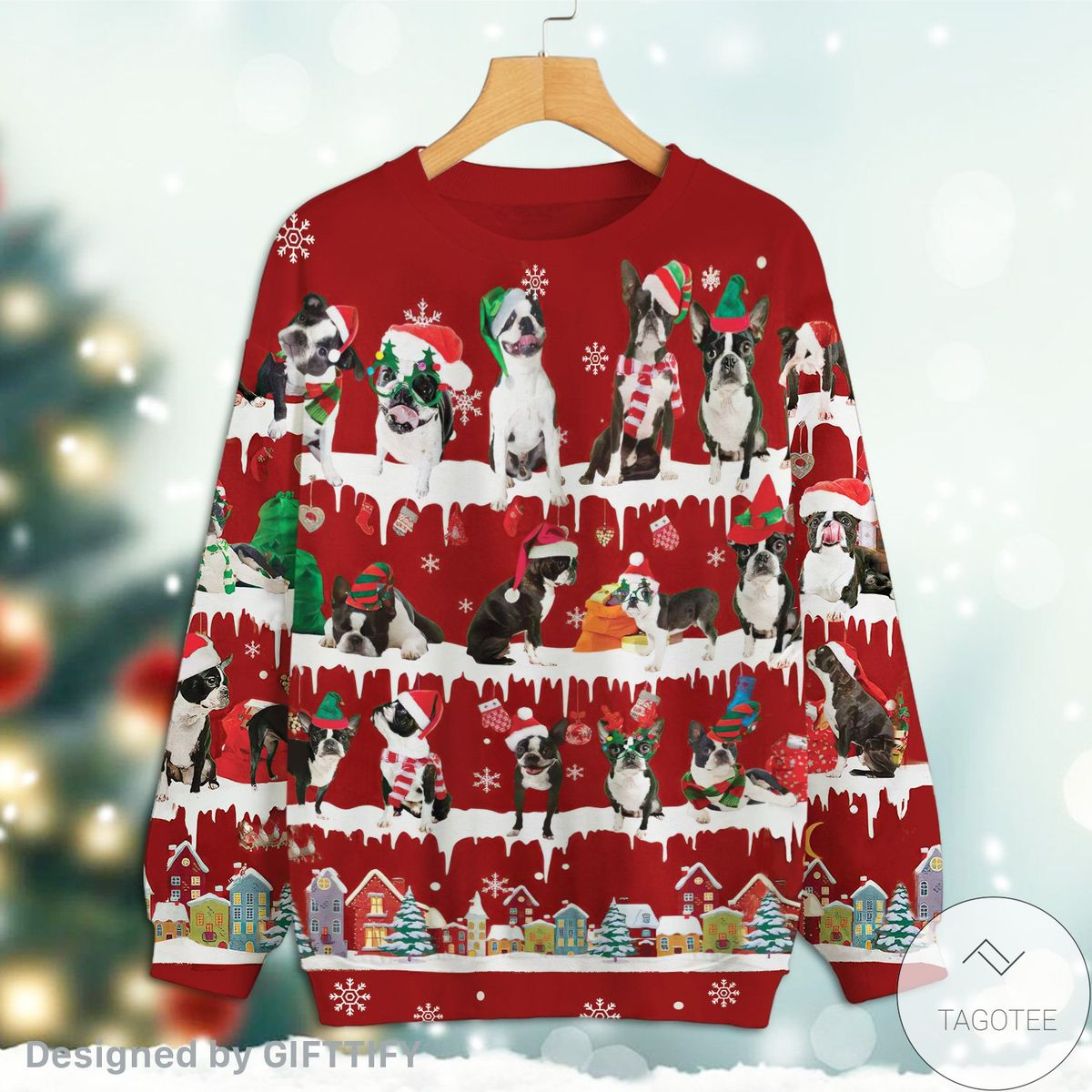 Amazon Boston Terrier Snow Christmas Premium Sweatshirt