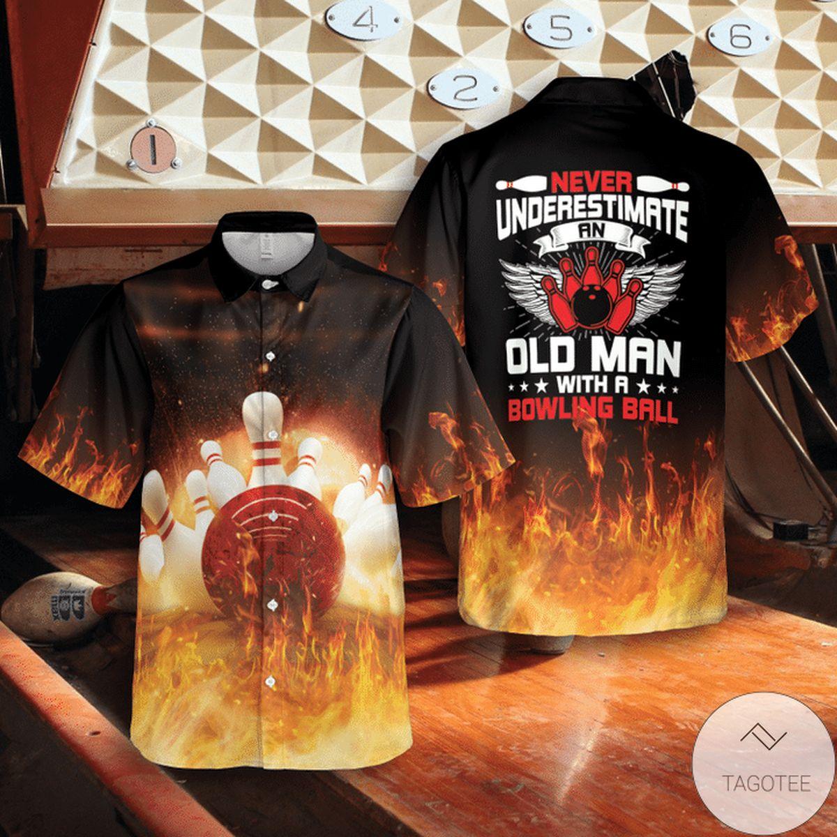 Bowling Never Underestimate An Old Man Fire Hawaiian Shirt