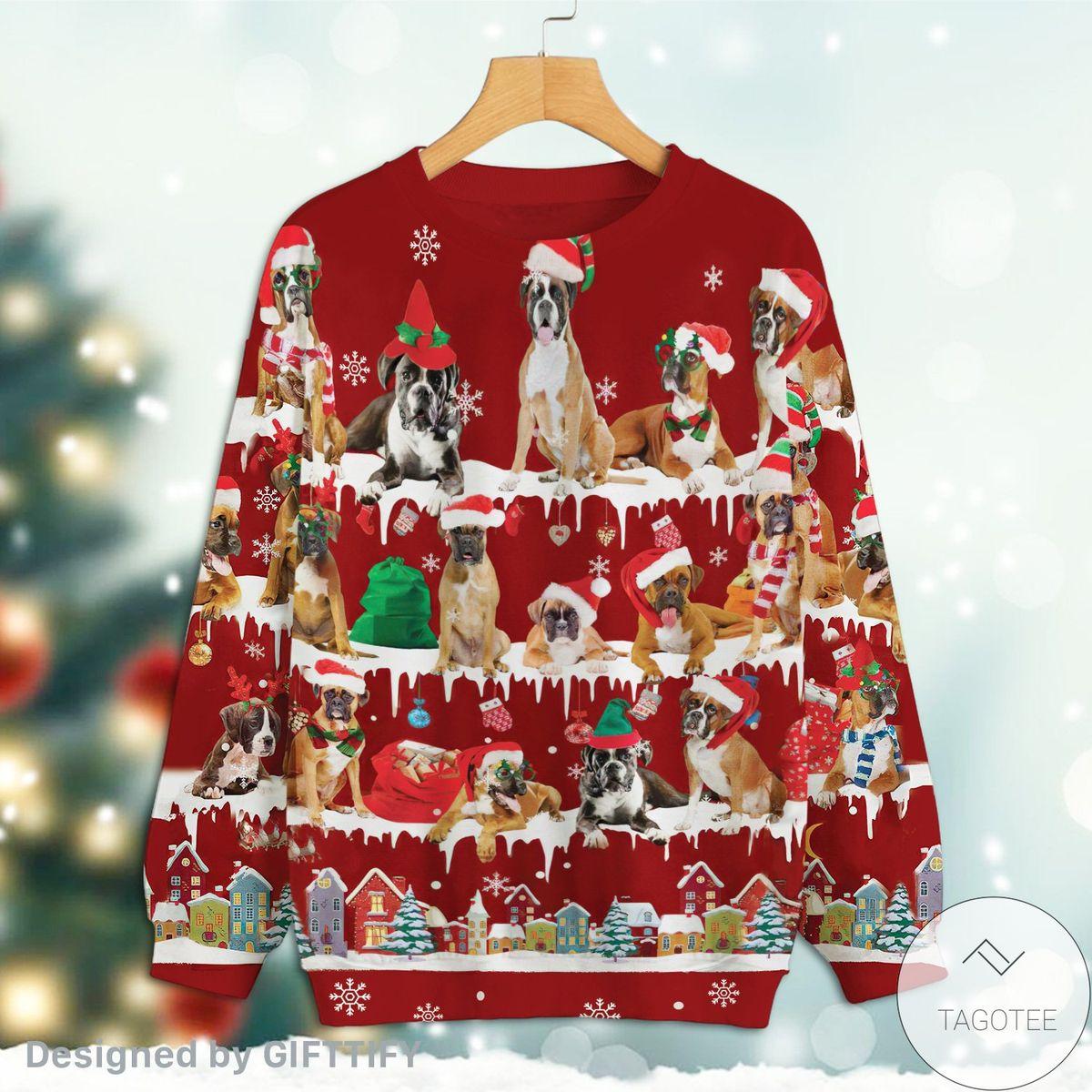 Boxer Snow Christmas Premium Sweatshirt