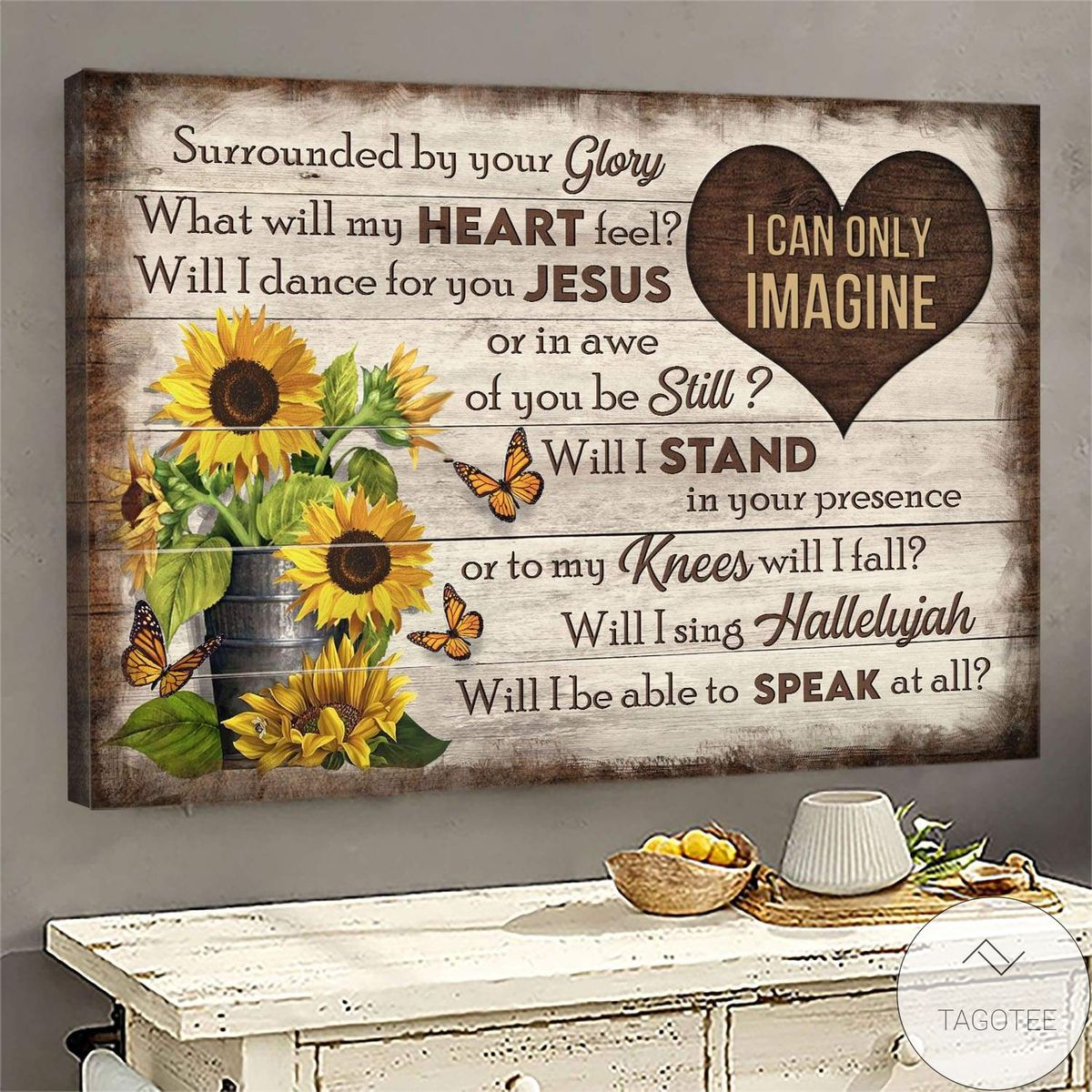 Butterfly And Sunflower I Can Only Imagine Jesus Canvas