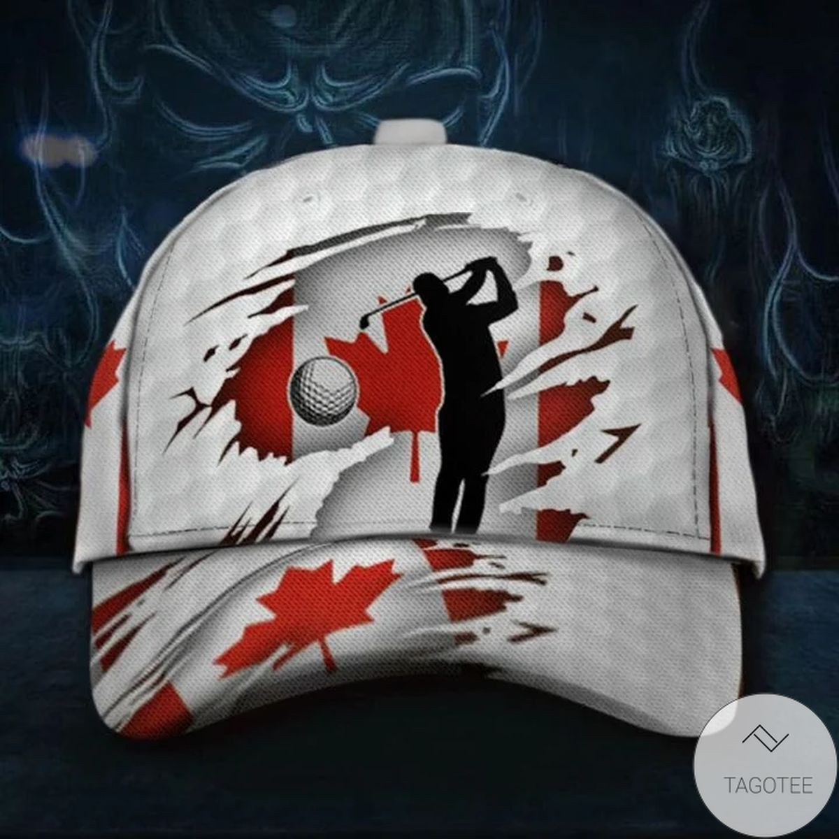 Nice Canada Flag Golfer Hat Graphic Print Patriotic Caps Golf Lovers Gift For Canadian
