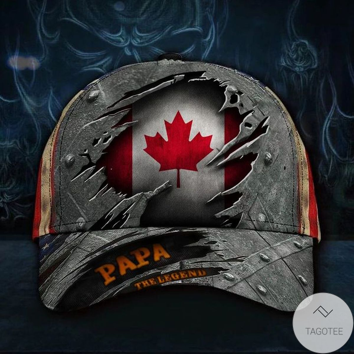 Canada Papa The Legend 3D Hat Vintage USA Flag Cap Father's Day Gift For Dad For Patriotic