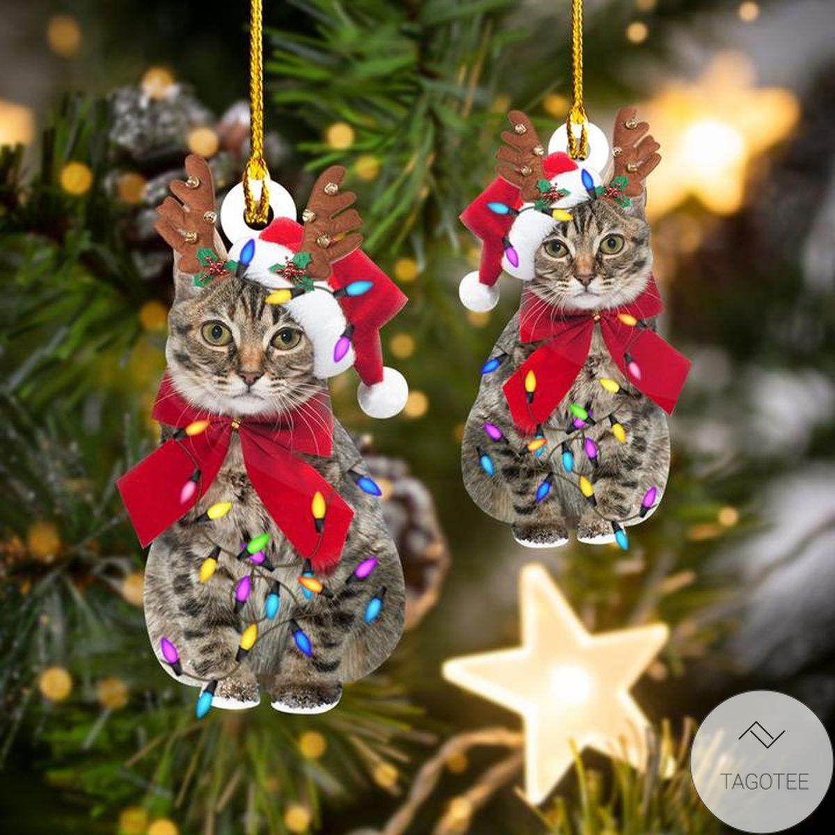 Cat Happy Christmas Ornament