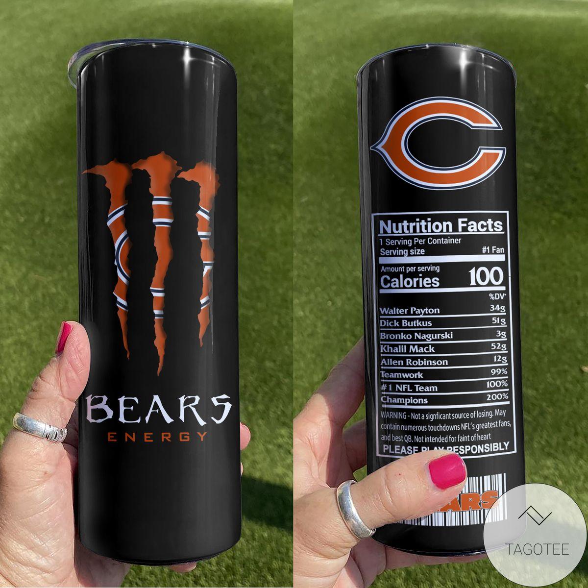 Chicago Bears Monster Energy Skinny Tumbler