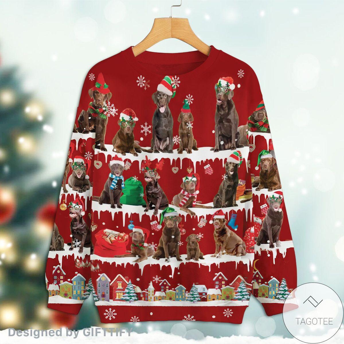 Best Chocolate Labrador Retriever Snow Christmas Premium Sweatshirt
