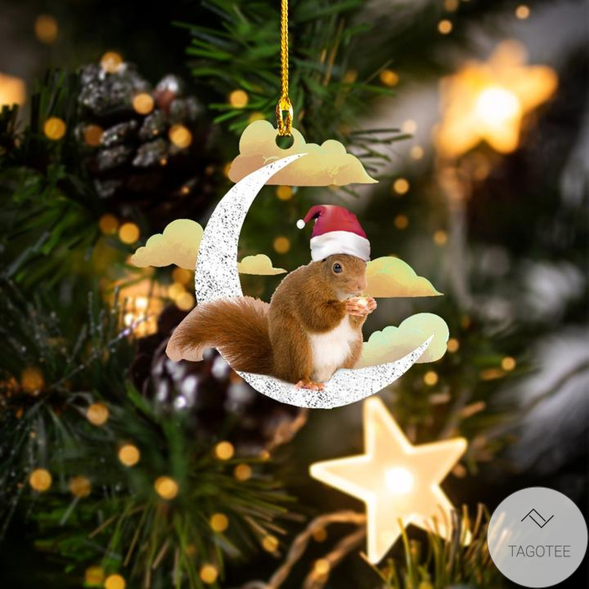 Christmas Squirrel On The Moon Ornament