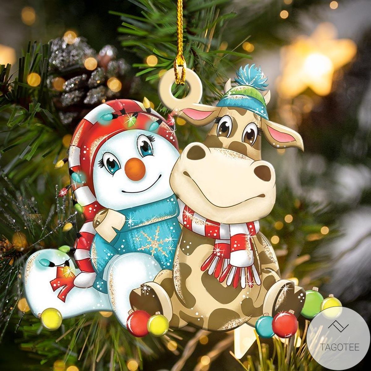 Cow And Snowman Christmas Shape Ornament