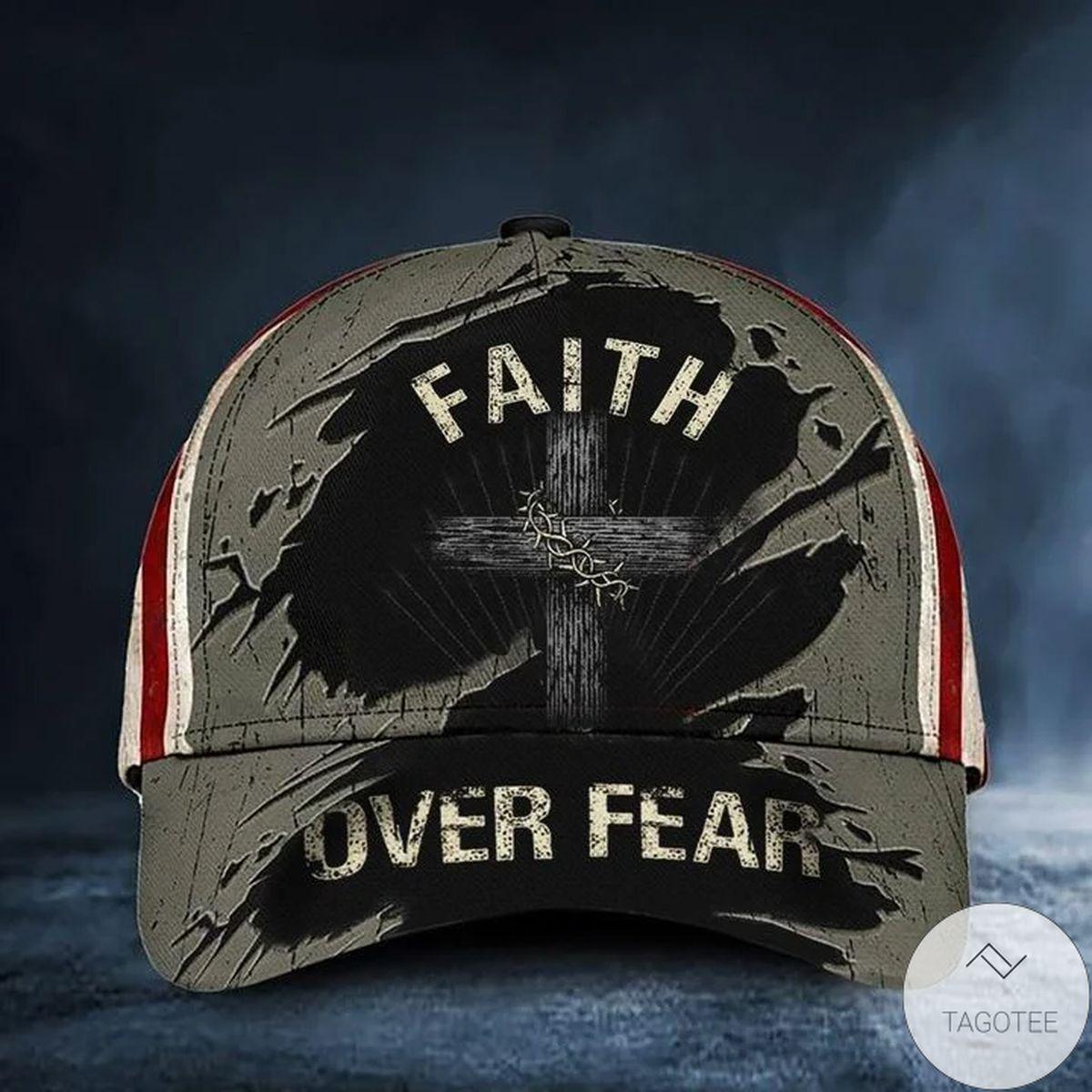 Cross Faith Over Fear Hat Vintage USA Flag Baseball Cap Religious Christian Gift For Men