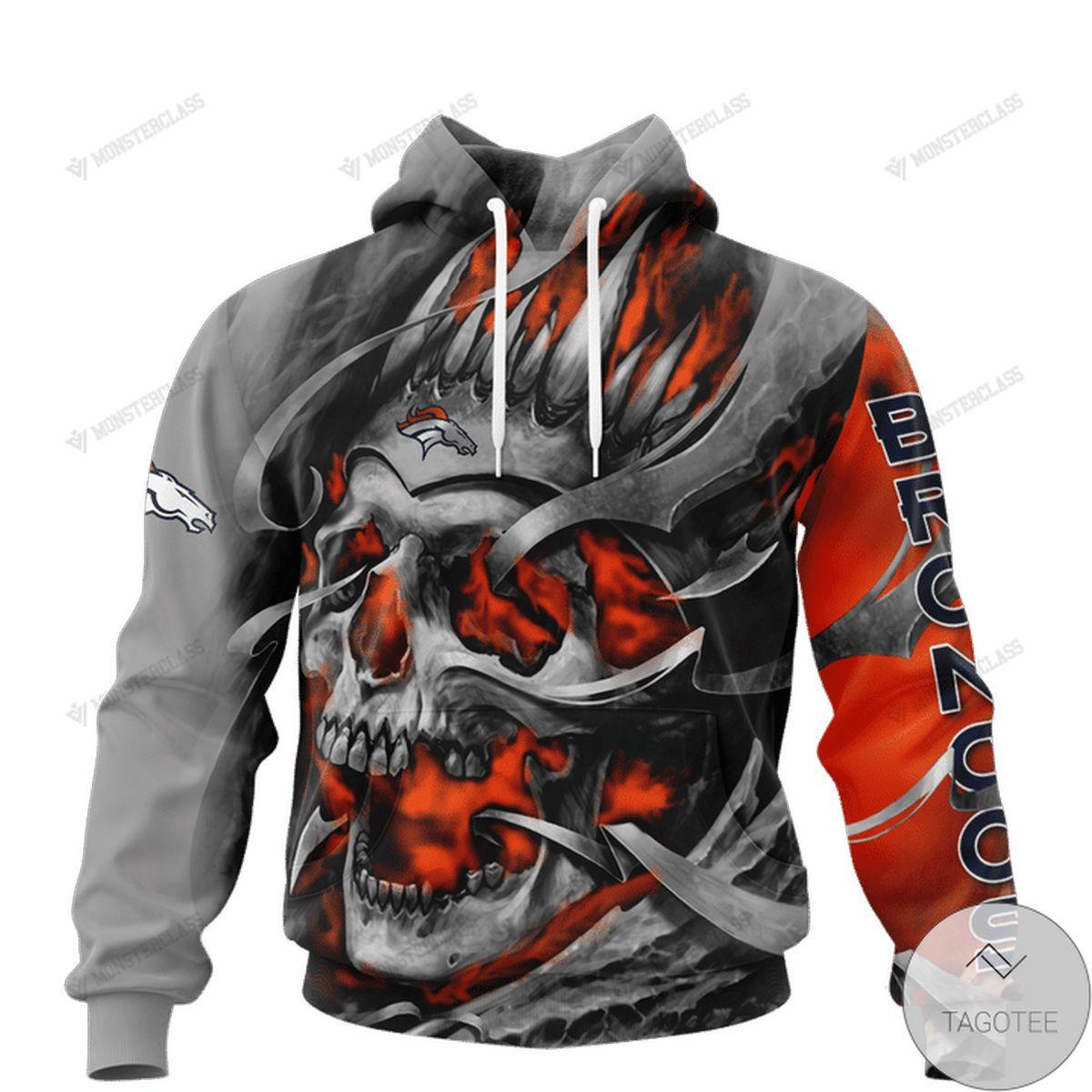 Denver Broncos Skull Jersey 3d Hoodie