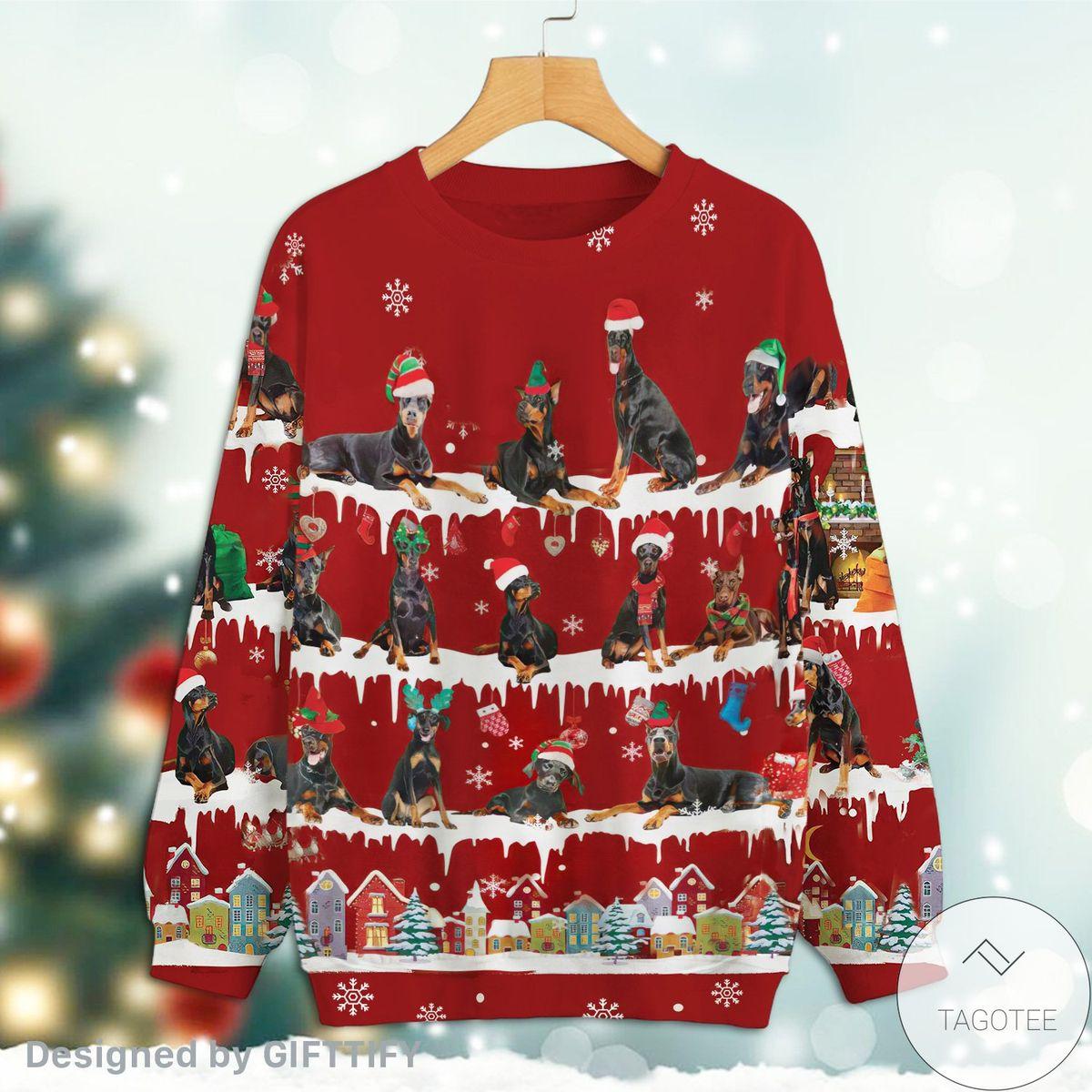 Unique Doberman Pinscher Snow Christmas Premium Sweatshirt