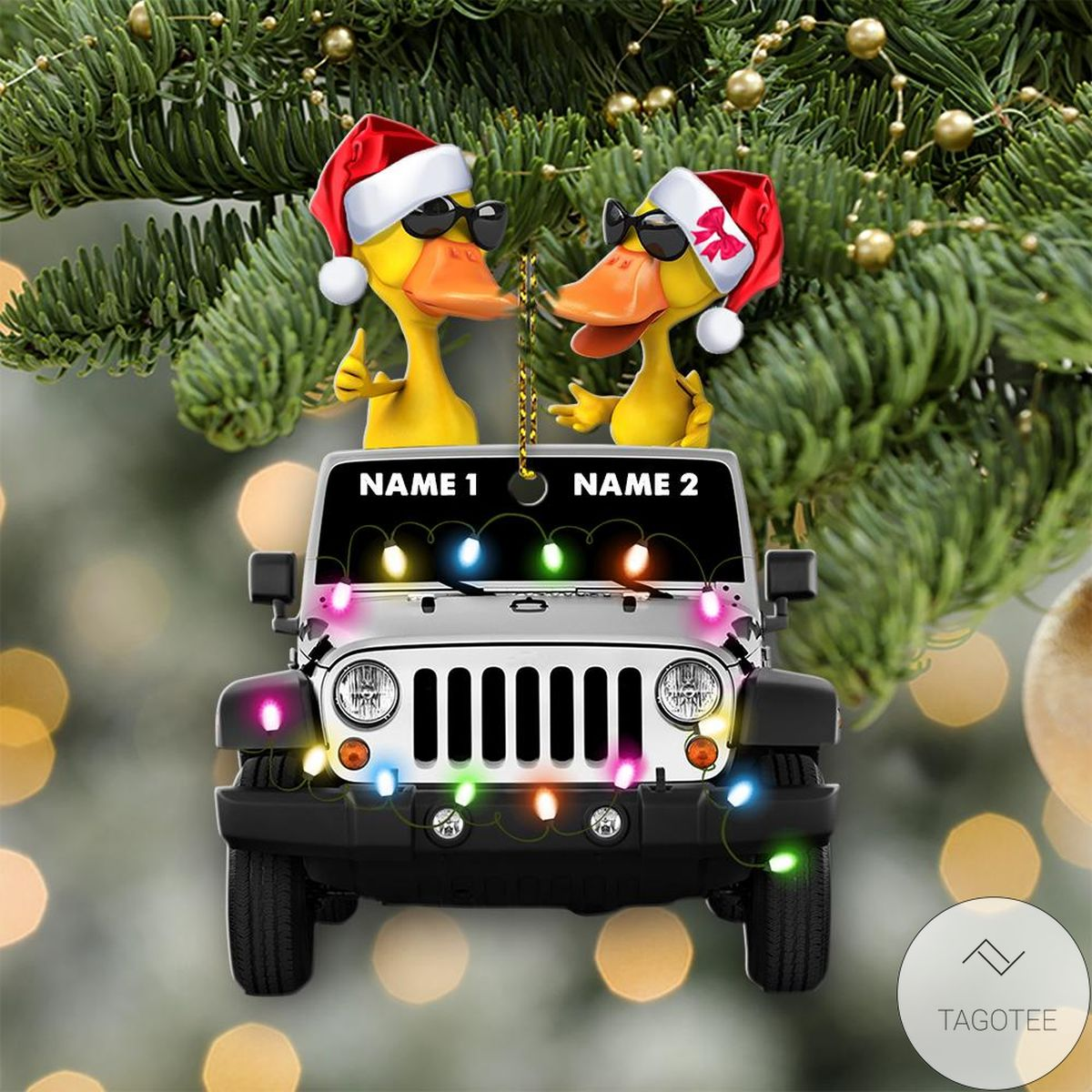 Top Duck Duck Jeep Christmas Yellow Ornament