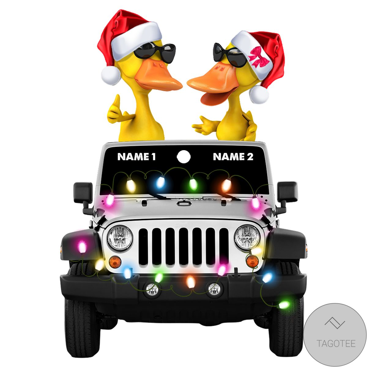 Hot Duck Duck Jeep Christmas Yellow Ornament