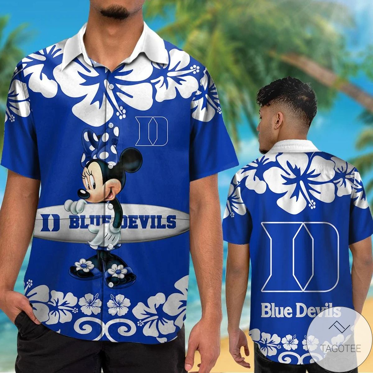 Duke Blue Devils & Minnie Mouse Hawaiian Shirt