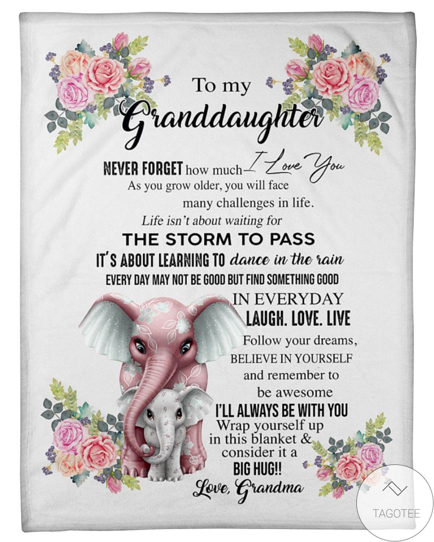 Elephants To My Granddaughter I'll Always Be With You Big Hug Fleece Blanket