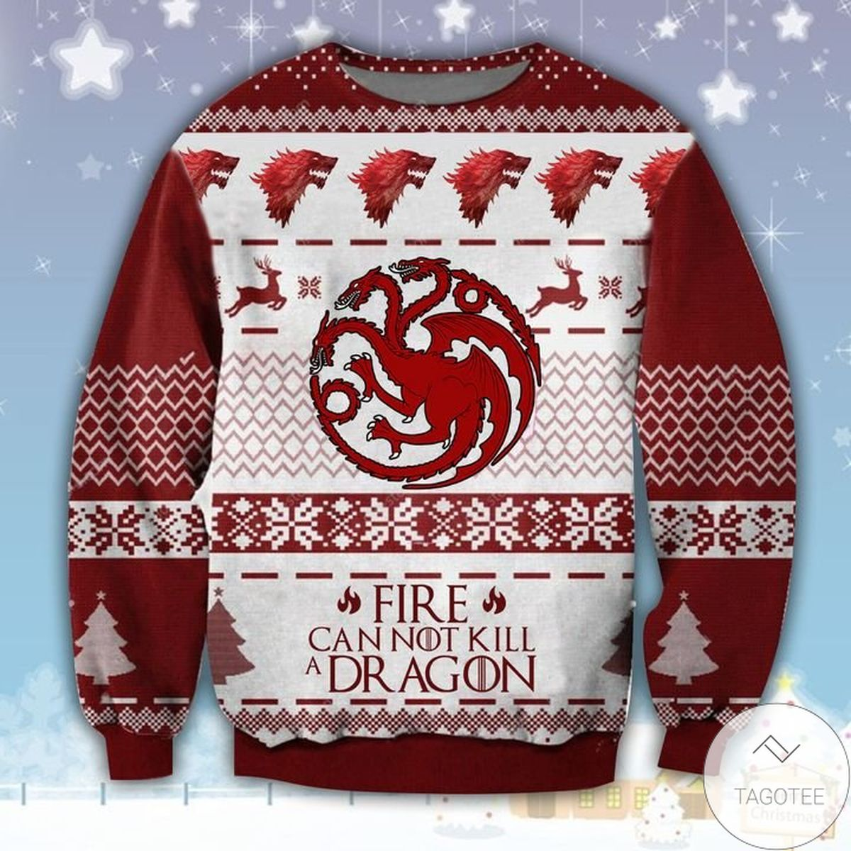 Fire Cannot Kill The Dragon Ugly Christmas Sweater