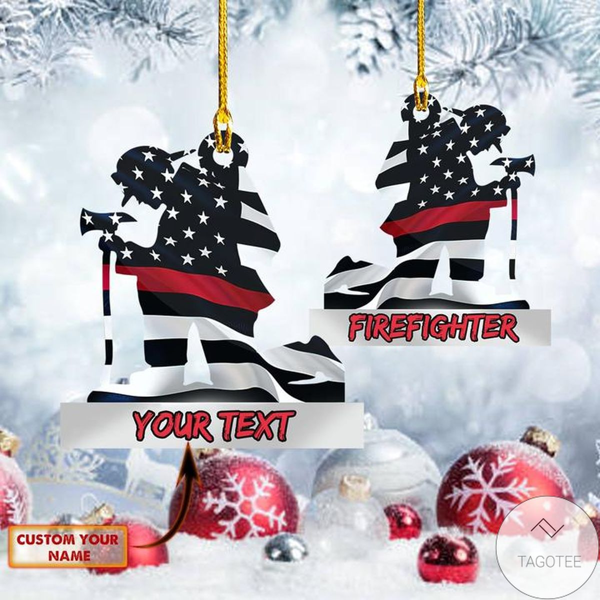 Firefighter Us Flag Shaped Ornament