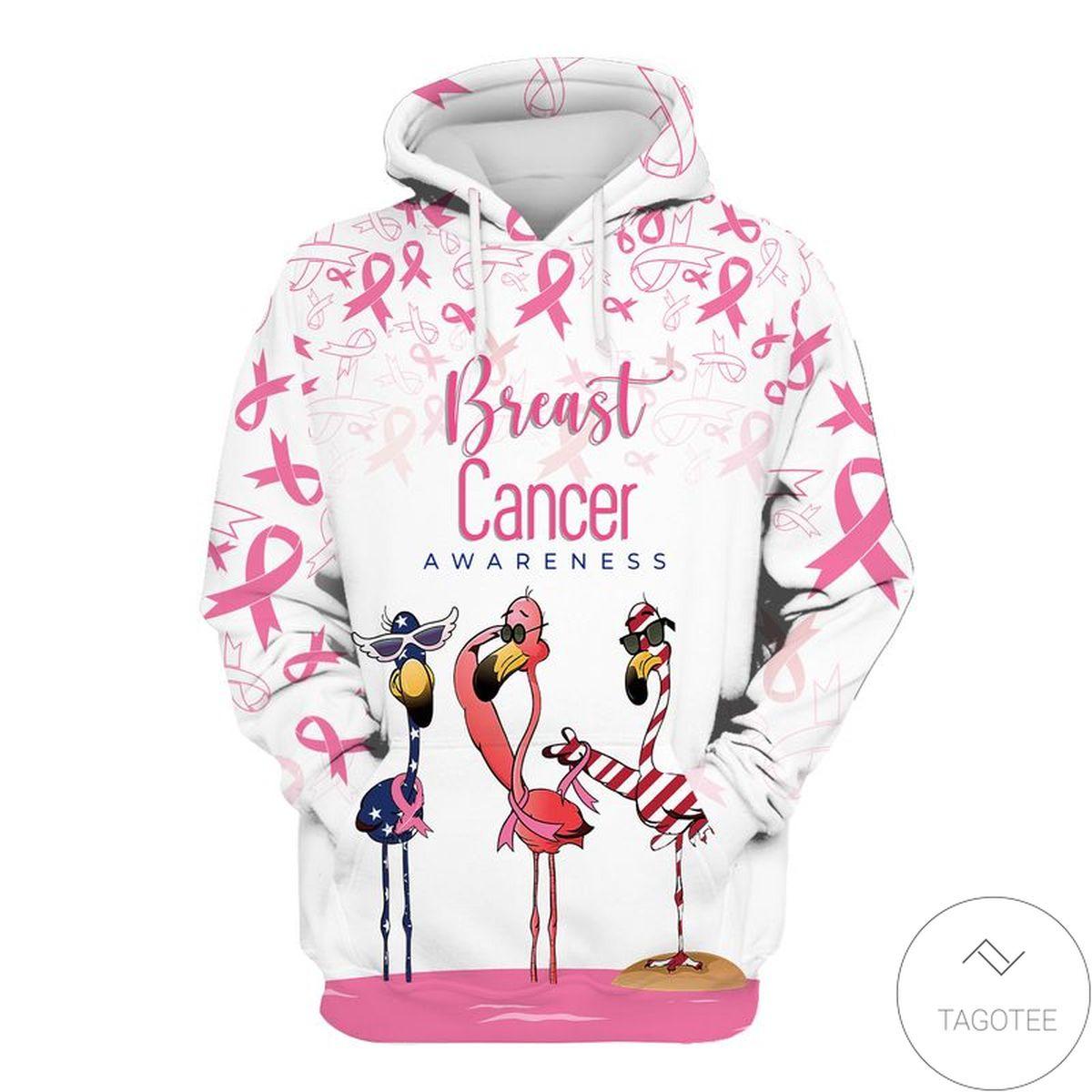 Flamingo Breast Cancer Awareness Pink Ribbon Hoodie