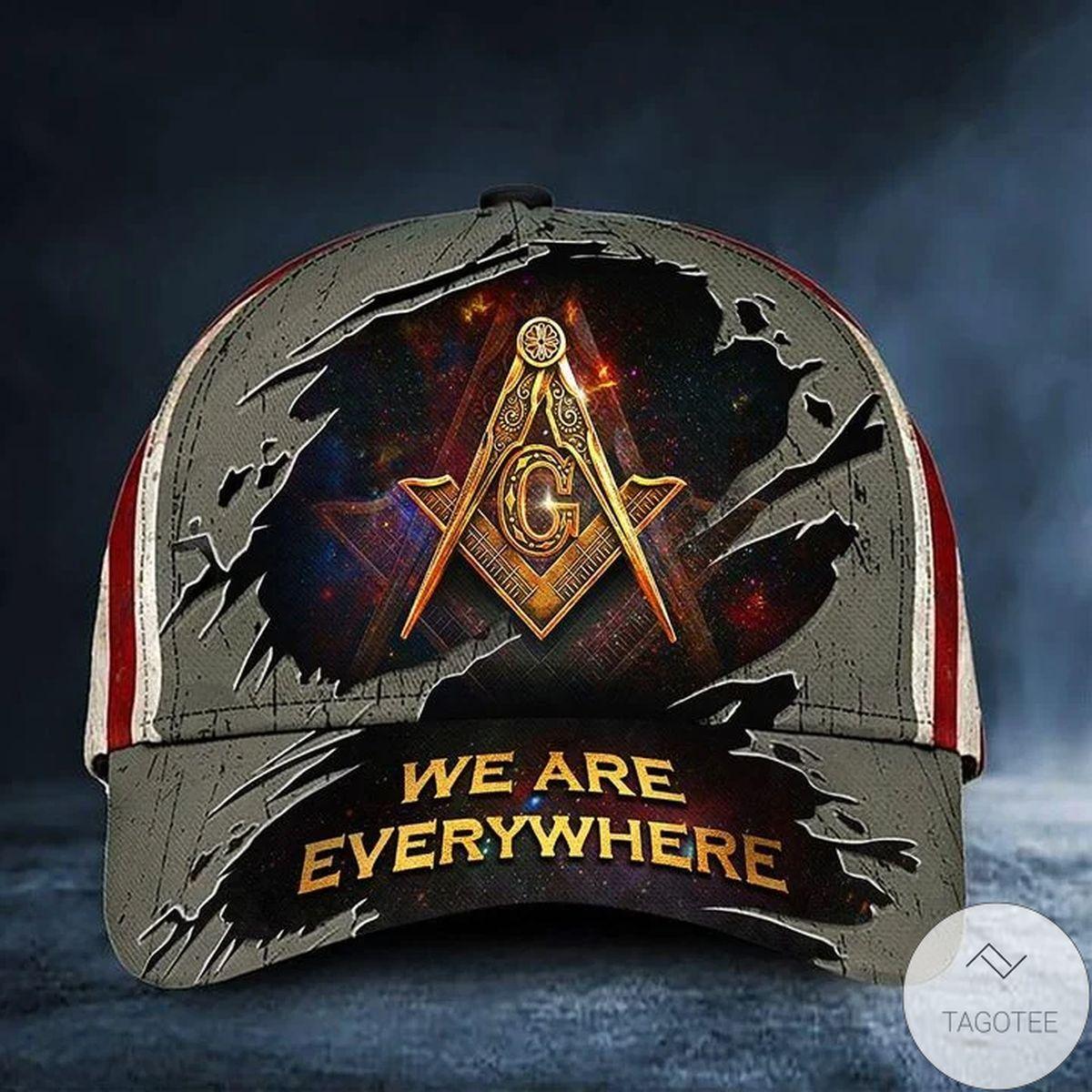 Great Quality Freemason Hat We're Everywhere USA Flag Masonic Hat Merch Unique Design Masonic Gift Ideas